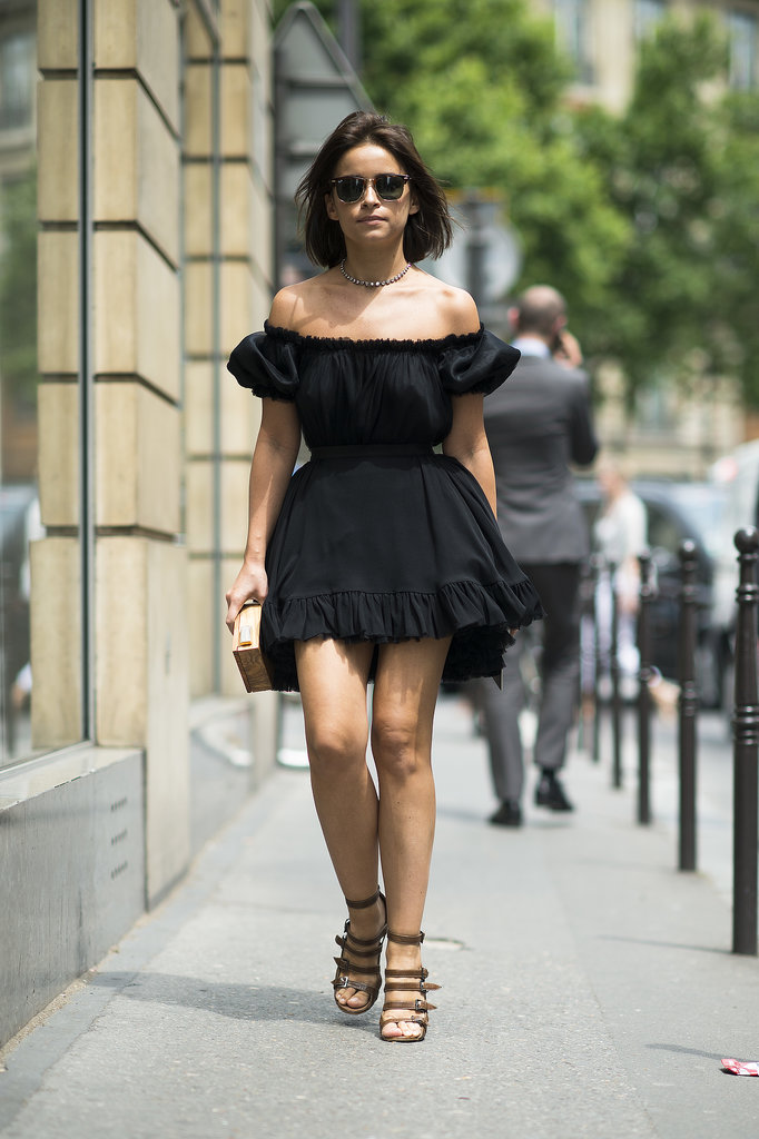Miroslava Duma put a twist on the LBD, picking a ruffled style that sat off the shoulders. Source: Le 21ème | Adam Katz Sinding