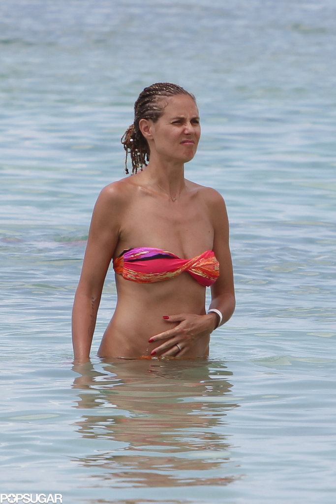 Heidi Klum wore a printed bikini.