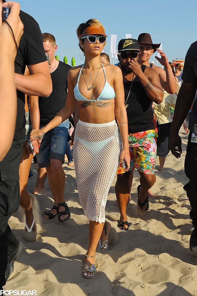 Rihanna hit the beach in Sopot, Poland.
