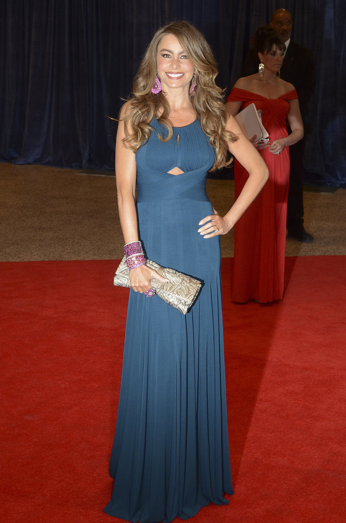 Vergara was pretty and patriotic in a teal-blue Hervé L. Leroux gown, accessorized with pink Lorraine Schwartz jewels, at the White House Correspondents' Dinner in April.