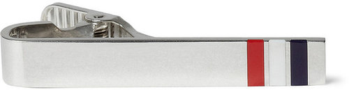 Thom Browne Striped Sterling Silver Tie Clip