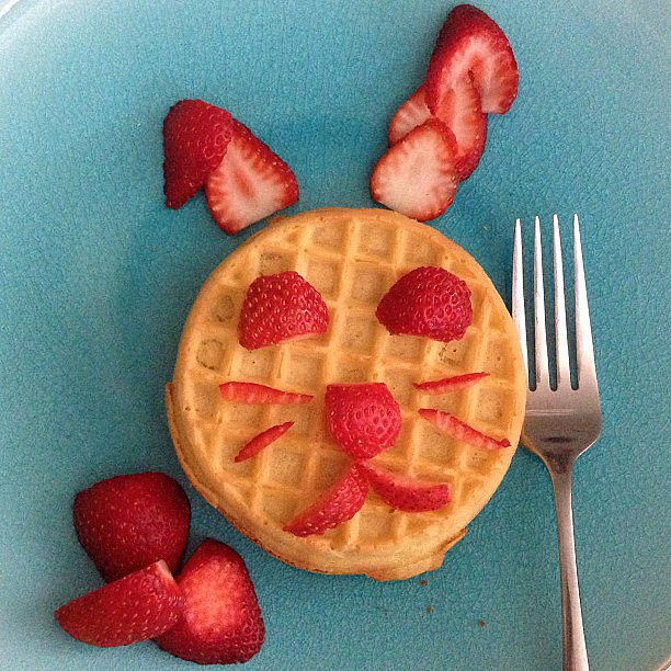 Cutting up strawberries is such a simple way to switch up the morning routine and make a fun waffle breakfast.  Source: Instagram user frmheadtotoe
