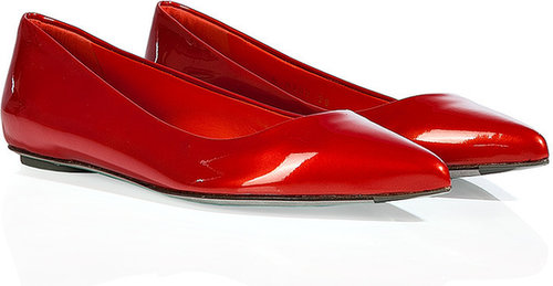 Sergio Rossi Pearly Paprika Metal Patent Leather Pointy Toe Flats