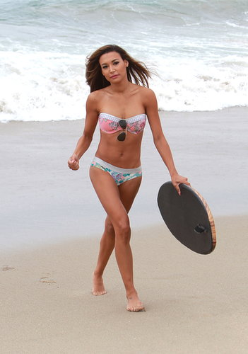 Naya Rivera was ultra feminine in her mismatched strapless bikini in Malibu.