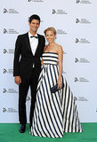 Novak Djokovic posed with his girlfriend, Jelena Ristic.