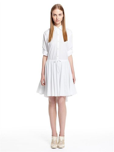 pureDKNY Stretch Cotton Poplin L/S Shirt Dress With Drawstring Waist And Transformer