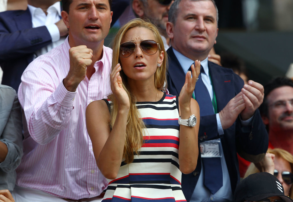 Novak Djokovic's girlfriend Jelena Ristic cheered him on during the men's final on July 7.