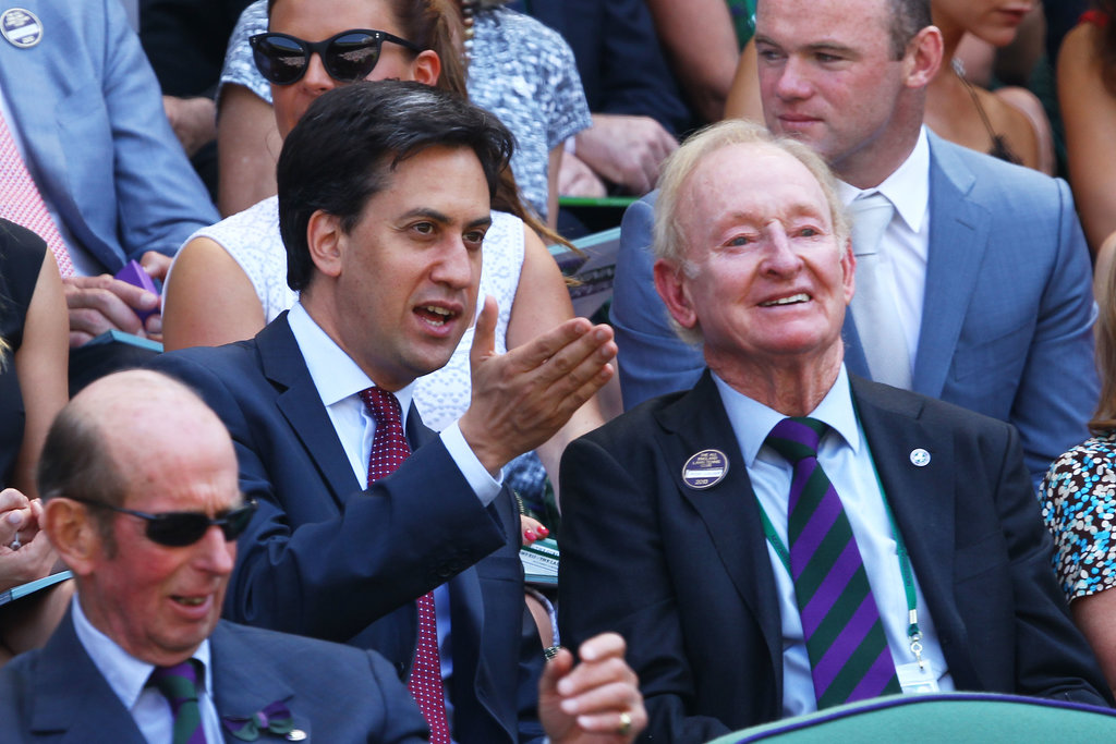 British politician Ed Miliband sat next to tennis great Rod Laver during the men's final on July 7.