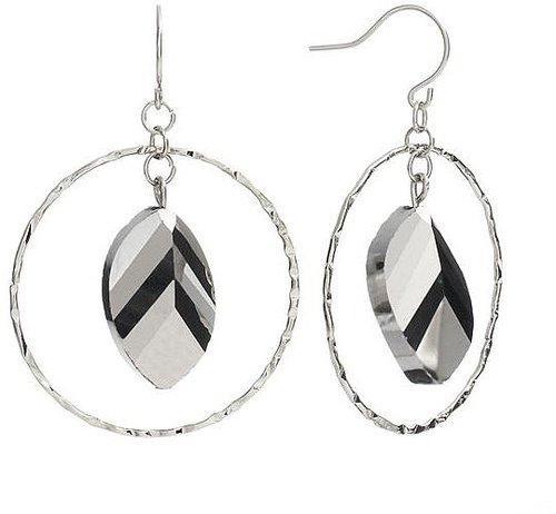 Apt. 9 bead textured hoop drop earrings
