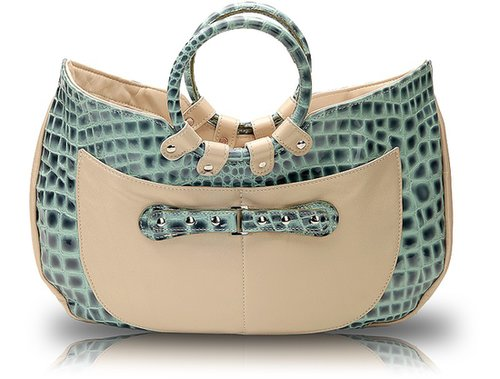 Javani  Ring Handle Tote Croco Azure with Accent of Pearlized Biege