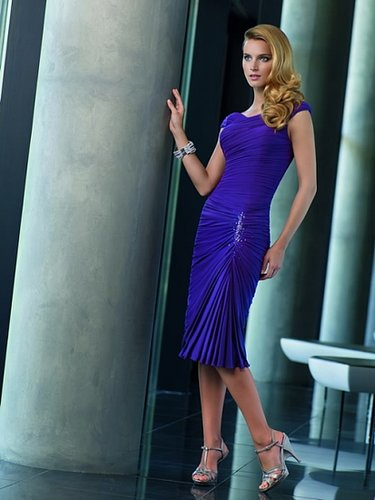 A-Line Round Neck Jersey Mother of the Bride Dress and Delicate Crystal Beading ML70531