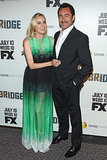 Diane Kruger posed with her costar Demián Bichir at the premiere of The Bridge in LA.