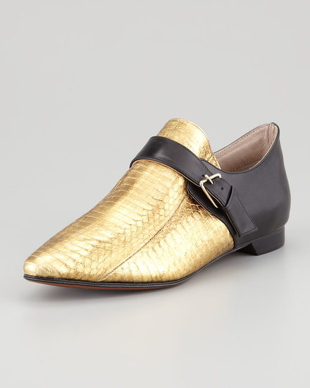 A menswear-inspired monk-strap shoe ($295) is made over for the most glamorous of girls with a strong showing of metallic gold snakeskin.