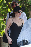 Angelina Jolie wore a hat to scout locations in Hawaii.