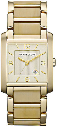 Michael Kors Watch, Women's Frenchy Gold-Tone Stainless Steel and Horn Acetate Bracelet 26x29mm MK4251
