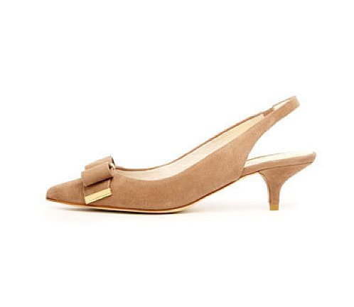 For a nude heel with ladylike twist, KORS Michael Kors Delphine Suede Slingback ($135) is as good as it gets. Pair it with a pretty pleated skirt and a tucked-in oxford shirt for a sweet-meets-preppy feel.