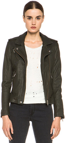 IRO Han Leather Jacket in Gris Souris