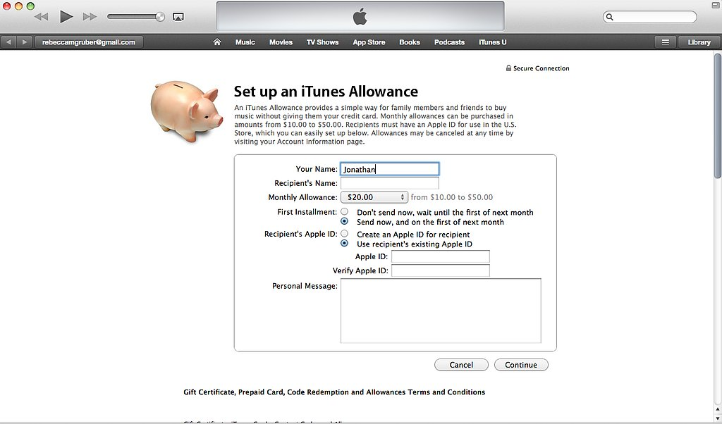 Create an iTunes Allowance