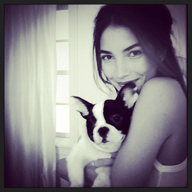 Lily Aldridge snuggled with a furry friend. Source: Instagram user lilyalridge