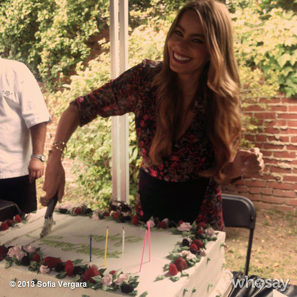 Sofia Vergara celebrated her birthday with a giant cake. Source: Sofia Vergara on WhoSay