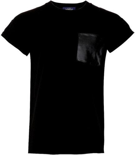 Black Leather Look Pocket T-Shirt