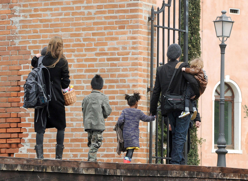 Knox Jolie-Pitt and Vivienne Jolie-Pitt celebrated Easter on San Servolo Island with Zahara Jolie-Pitt and Maddox Jolie-Pitt in March 2010.
