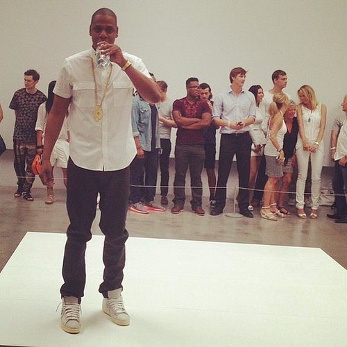 "Jay Z took a water break while performing his song ""Picasso Baby"" at the Pace Gallery in NYC. Source: Instagram user mtv"