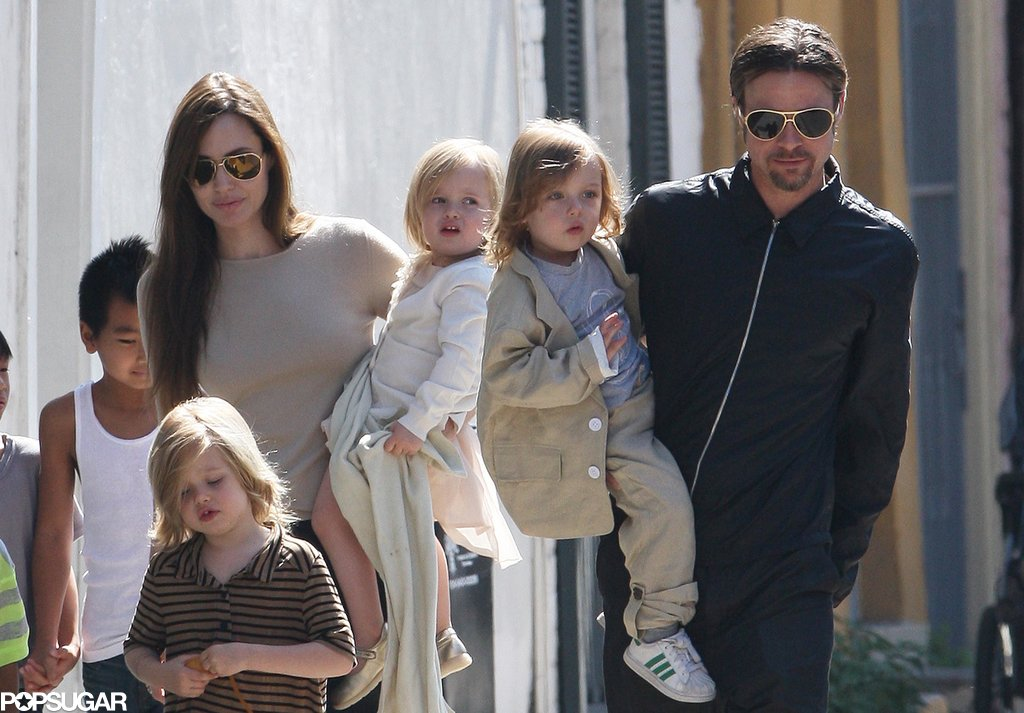 Brad Pitt and Angelina Jolie brought all six of their kids out on a New Orleans walk in March 2011.