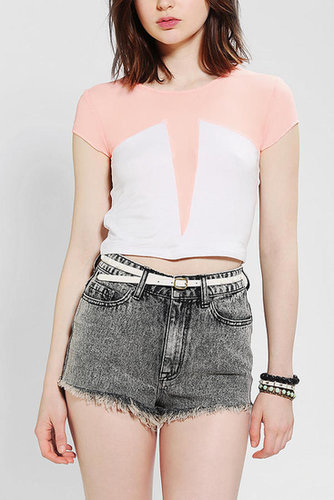 Neon Moon Mesh Inset Cropped Tee
