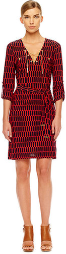 Michael Kors Printed Lace-Up Dress