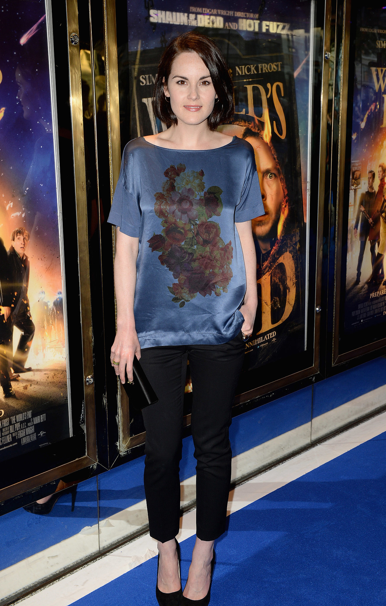 Michelle Dockery matched the carpet's hue with a blue blouse at London's The World's End premiere.