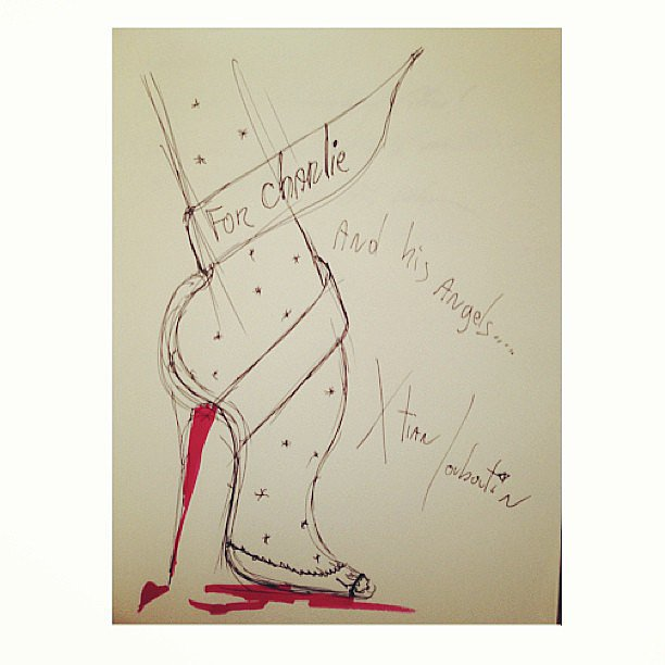 "In anticipation of his appearance on Charlie Rose, Christian Louboutin sketched the journalist a ""thank you"" shoe. Source: Instagram user louboutinworld"