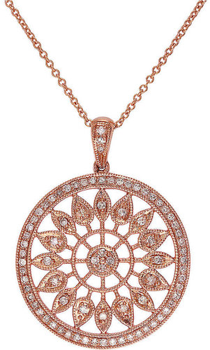 EFFY COLLECTION 14Kt. Rose Gold Circle Pendant Necklace with Diamonds