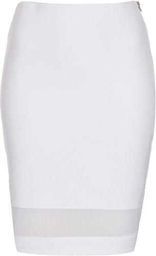 White Mesh Panel Tube Skirt