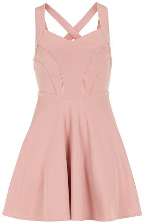 Nude crossover back dress
