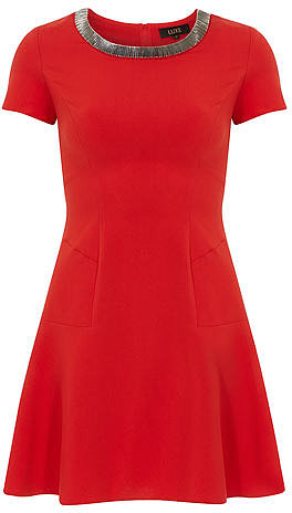 Luxe red embelished neck dress
