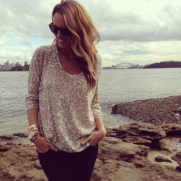 Australian jewellery designer stopped for a pictureqsue photo by the water in Sydney. . . But we're more enamoured with that lightweight leopard sweater! Source: Instagram user samanthawills