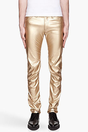 COMME DES GARÇONS HOMME PLUS Metallic Gold Faux Leather trousers