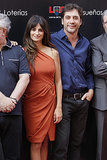"Penélope Cruz stayed close to Javier Bardem during an unveiling of Madrid's ""Street of Stars"" back in June 2011."