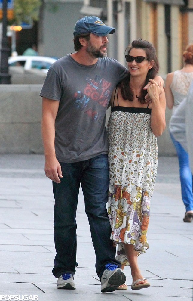 Penélope Cruz and Javier Bardem looked happy while walking down the street in Madrid in July 2012.
