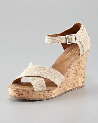 TOMS Cork Wedge Sandal