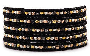Chan Luu Mixed Nugget Wrap Bracelet on Black Leather