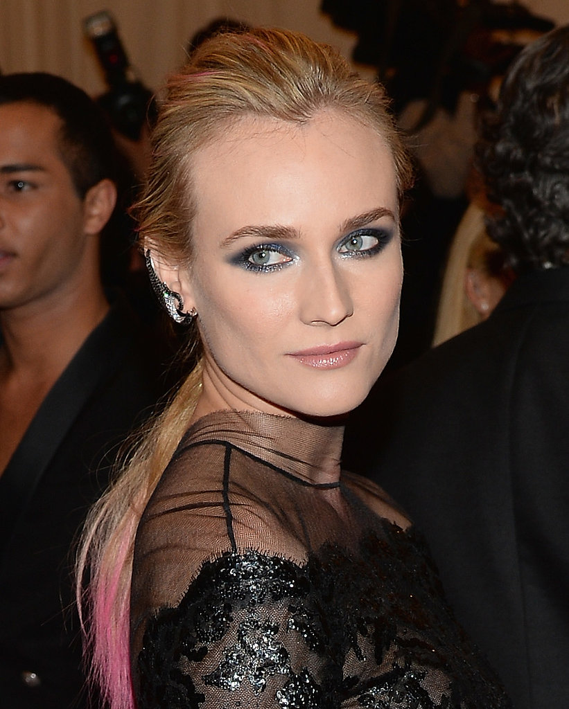 At this year's Met Gala, Diane dip-dyed her ponytail pink. She added to the punk vibe with a gunmetal smoky eye and bold brows.