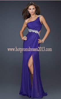 Purple One Shouder Royal Long Dress for Prom 2013 Fashion