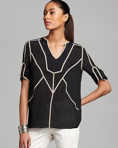 Filtre Short Sleeve Tunic with Piping