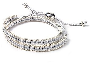 Links of London Double Wrap Pewter and White Friendship Bracelet
