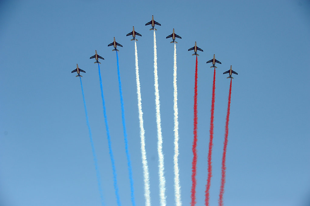 French air force team Patrouille de France flew over during the Bastille Day parade on the Champs-Élysées.