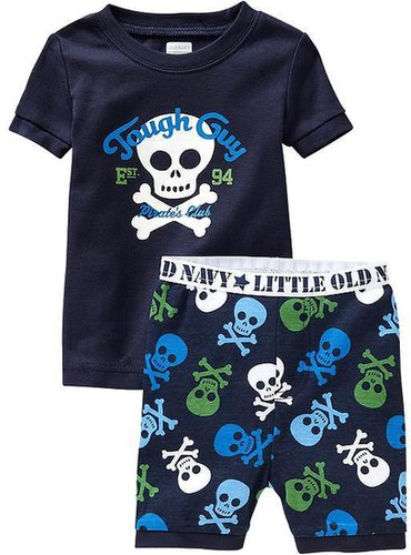 """Tough Guy"" Skull-Graphic PJ Sets for Baby"