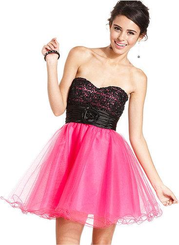 Speechless Juniors Dress, Strapless Sash Tulle