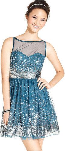 Ruby Rox Juniors Dress, Sleeveless Sequin A-Line